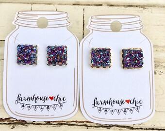 RAINBOW Square Druzy Earrings