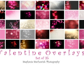 Valentines Overlay, Valentines Bokeh Overlay, Heart Overlay,Valentine Heart Bokeh Overlay,Textures,Red, Pink, Heart,  Instant Download