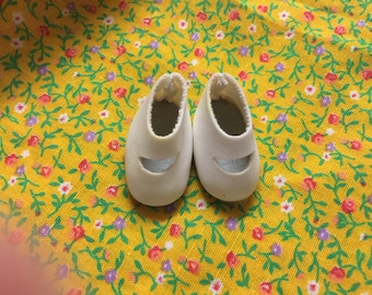 Small Doll Shoes White Mary Jane Style Soft Upper Sturdy Sole