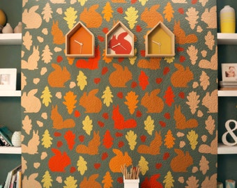 SQUIRRELS - Nursery Wall Decor Stencil - Allover Wall Stencils For Kids Room