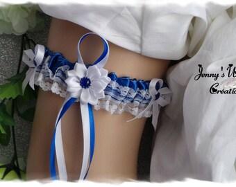 Garter model Belinda - Royal Blue and white