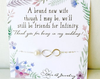 Bridesmaid gift idea, infinity necklace on message card, bridal jewelry, be my bridesmaid, thanking bridesmaids, otis b, pearl necklace