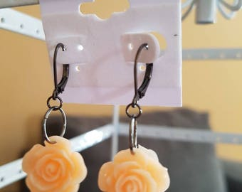 Orange rose earrings