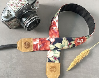 DSLR camera strap,Navy Red flower Camera Strap, leather camera Strap Gift for her