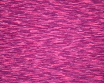 Raspberry Soft Knit Fabric Pinstripe Pattern Stretchy Cozy Cuddly Comfy Smooth Snug Four Way Stretch Pink & Purple Magenta Fun (By the Yard)