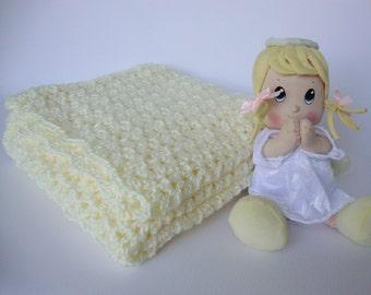 Crochet Baby Blanket, White Baby Blanket, Baby Blanket Crochet , Acrylic Blanket, Creamy White Blanket, Godchild Gift, Crib Size Blanket