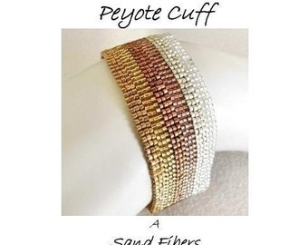 Peyote Pattern - Mixed Metals Peyote Cuff / Peyote Bracelet - A Sand Fibers For Personal Use Only PDF Pattern - 3 for 2