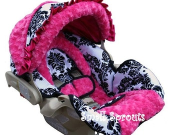 London Hot Pink Infant Car Seat Cover 5 piece set