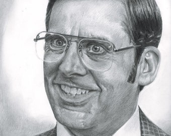 Drawing Print of Steve Carell as Brick Tamland in Anchorman