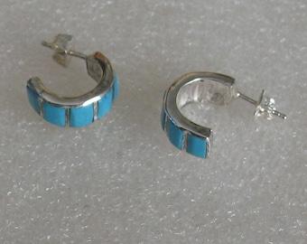 SALE Sterling Silver Turquoise 1/2 Hoop Post Earrings 15mm