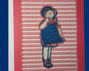 What A Sweet Girl Vintage Applique Notecard