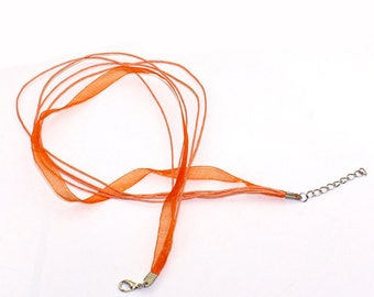 Necklace clasp Orange organza Ribbon
