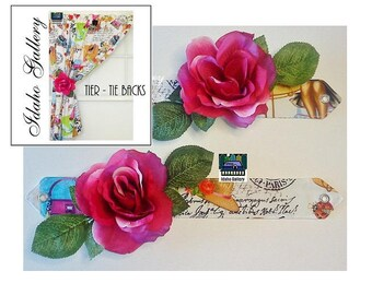 Paris Pinup Girl Retro Style Romantic Flower Tie Back Set for Tiers & Curtains Kitsch Decor Roses French Decor Idaho Gallery