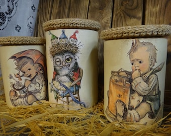 Banks wooden-A set for a canister-Housewarming for gifts-A gift for a mother's day-A country house-custom corked jar