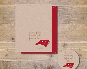Christmas Cards . Holiday Card Set . Personalized Christmas Cards . Recycled Christmas Cards . States  - From Our State To Yours