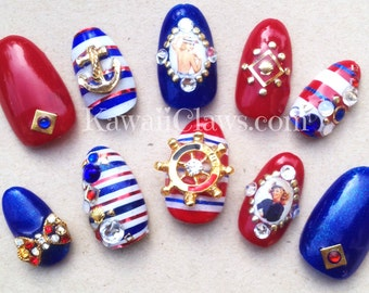 Pinup girl Nautical Nails with stripes kawaii full well false 3D japanese nail art