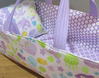 Doll Carrier, Under The Sea, Lavender Lining, 14 Inches Long, Doll Basket