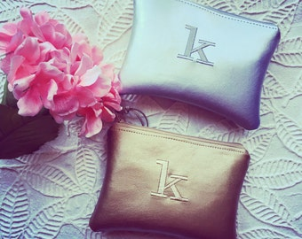 BFF Personalized Bridesmaid Gift Idea Pouch for Her Monogram Clutch Set Purse Custom Women Metallic Gold Faux Leather Makeup Cosmetic Bag