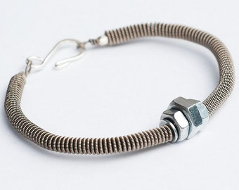 Guitar String Bracelet- Upcycled Silver Hardware Jewelry, Featured in Elle Magazine, Guitar String Jewelry, Guitar Player Gift