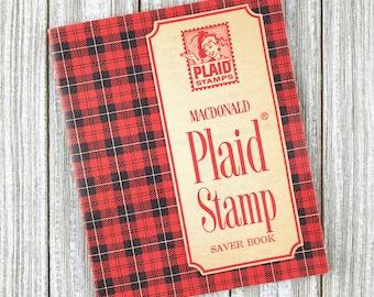 Vintage 1965 FILLED Plaid Stamp Booklet
