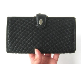 Vintage Bally Quilted Black Leather Wallet / Luxe Womens Wallet / Clutch Wallet Billfold / Change Purse / Organizer / Made in Italy