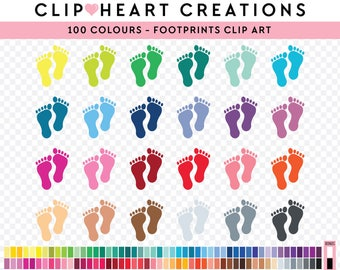 100 footprints Clipart, Commercial use, PNG,  Digital clip art, Digital images, Rainbow digital scrapbooking clip art, footprint, baby feet