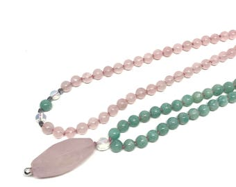 108 Mala Necklace, Mala 108 Necklace, Mala Beads, Mala Bead Necklace, Mala Beads 108, Prayer Beads, Rose Quartz Mala, Amazonite Mala
