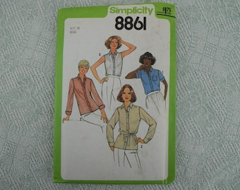Simplicity Sewing Pattern 8861 shirt blouse from 1978 size 10