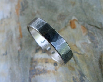 Hammered Blackened Silver Wedding Band with Personalized Inscription - Sterling Silver Commitment Ring for Men or Women - Flat Band Ring