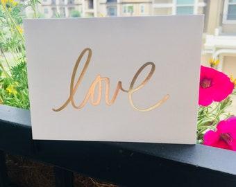 Love Card-White-Foiled Gold-Blank Inside-Pack of 6-Matching Envelopes