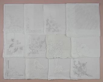 Vintage Hanky Lot,Wedding Hanky Lot,One Dozen White Wedding Vintage Hankies Handkerchiefs (Lot #79)