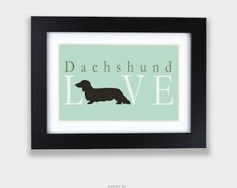 DACHSHUND LOVE Print - Long Haired   Dog Lover Print, Dog Silhouette, Animal Lover, Dog Typography, Dog Print, Dog Love, Dog Decor