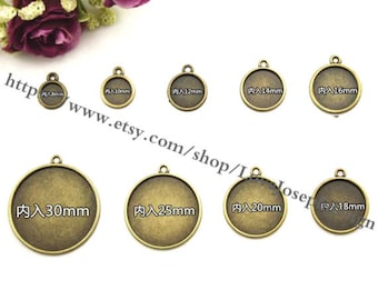 8mm-30mm cabochon bezel ---wholesale 100Pieces /Lot Antique Bronze Plated 8mm-30mm cabochon bezel trays charms (#0463)