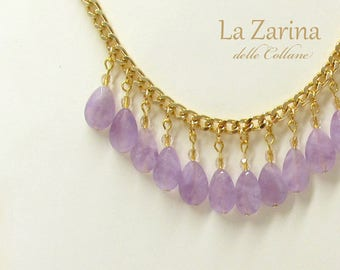 Refined necklace with drops of ametrine violet light-Letizia