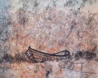 Original artwork of a boat lost at sea