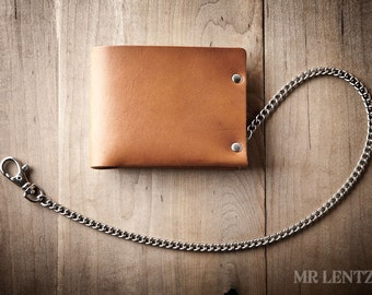 Men's Chain Wallet, Mens Leather Chain Wallet, Minimal Leather Chain Wallet, Thin leather chain wallet, Leather chain Bifold 013_CH