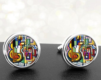 Cufflinks Colorful Abstract Art Handmade Cuff Links Fathers Dads Men French Cuff Accessory