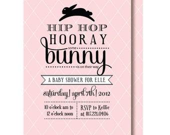 Vintage Bunny Baby Shower Invitation