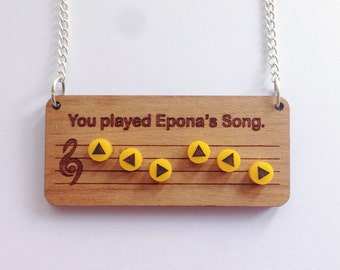 Legend of Zelda Epona's Song necklace - Ocarina of Time - Nintendo 64 - Old school - Geek and cute