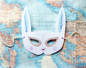 Bunny Rabbit Paper Mask, Woodland Forest Party or Wedding Favor