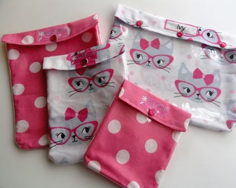 Clearance Cats Ouch Pouch 4 Piece Set Clear Front Bags for Travel Baby Supplies Diapers First Aid Girls Hair Bows Back to School Accessories