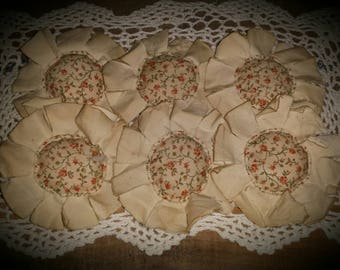 Primitive Spring Shabby Calico Fabric Flowers Ornies Bowl Fillers Set of 6