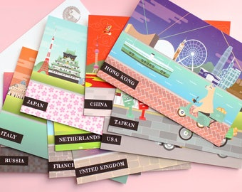 Set of 10 Travel Postcards/Happy Mail/Stationery/Postcard/Snailmail/Travel/Postcrossing/Alpaca