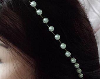 Bridal headpiece, bridal headband, bridal hair vine, pearl headpiece, pearl headband, pearl hair vine, wedding hair jewelry