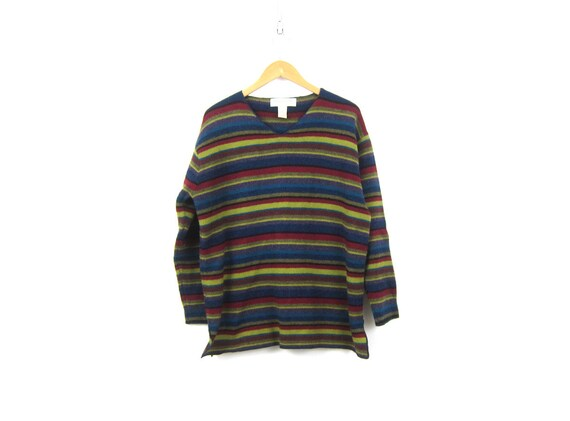Wool Knit HARVEST Sweater 90s Lambs Wool Knit Pullover Sweater Red Purple Blue Striped Preppy VNeck Sweater Womens Small Medium