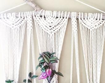 5 Plant Macrame Hanging Planter- Wall Accent- Bohemian Decor- Dorm Decor~ Modern Macrame- White Wall Accent- BohoChic Home Decor