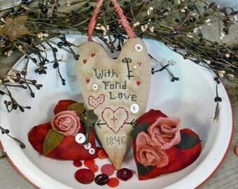 Valentine With Fond love PDF Pattern cross stitch - primitive old stitchery Roses embroidery Ornies vintage bowl Cross-Stitch filler