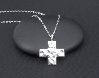 Hammered Cross Necklace Sterling Silver Cross Necklace, Faith Necklace, Religious Jewelry