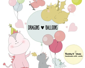 Dragons and balloons clipart