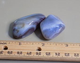 Two Large Botswana Agate Tumbled Polished Stones 1.4 oz total Worry Rock Palm Stone
